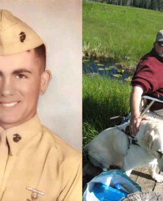 (Left) Hal re-enlisted in Marines in 1963 as a Lance Corporal and like thousands of others, was sent to Vietnam. (Right) Hal Long with his faithful guide dog, Floyd, on a fishing adventure.