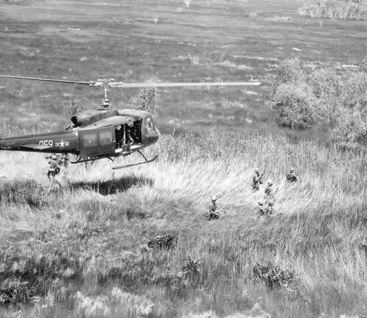 Helecopters were brought in to rapidly transport soldiers. UH-1D Huey helicopter hovers above Vietnamese Air Force personnel of the 211th Helicopter Squadron on a combat assault in the Mekong Delta area of Vietnam.