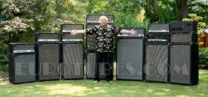 Conrad Sundholm in front of several Sunn Amplifiers.
