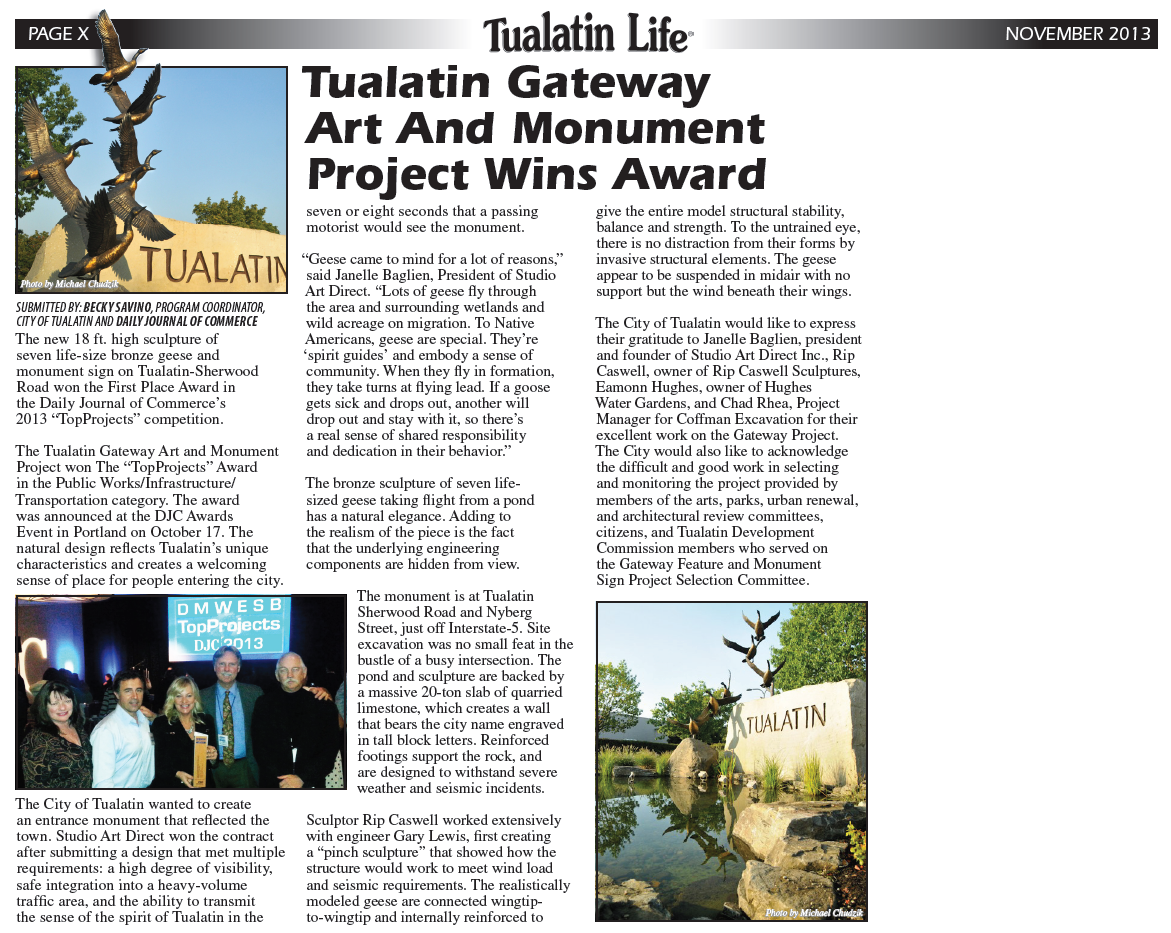Tualatin Gateway Art and Monument Project Wins Award