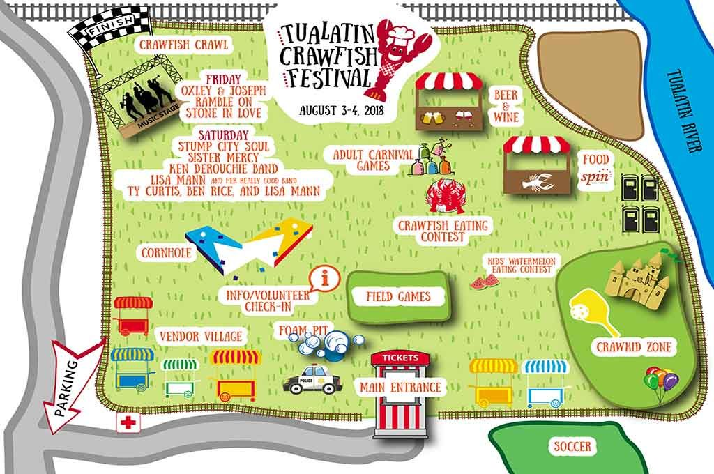 Tualatin Crawfish Festival map.