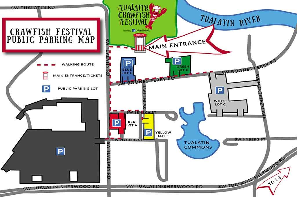Tualatin Crawfish Festival public parking map.