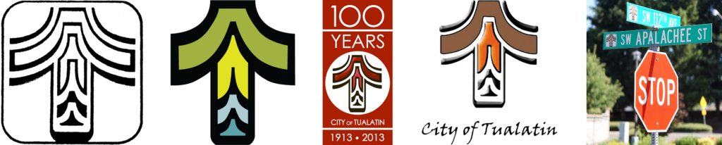 John Bergstrom's original version of the logo was in black and white. The City of Tualatin later added two earth-tone colors to compliment the Native American motif.