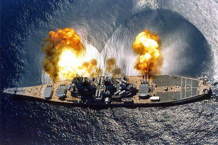 USS Iowa fires a full broadside, July 1984